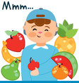 child with fruits vector image