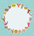 Funny Animals card template White circle on light vector image