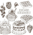 Hand Drawn Dessert Set vector image