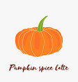pumpkin spice latte hand drawn logo with vector image