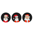Santa Claus colorful round icons set vector image