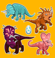Triceratops Rhino Dinosaurs Sticker Collection Set vector image