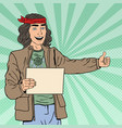 pop art smiling hitchhiking hipster tourist vector image