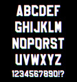 glitched sport font letters and numbers vector image