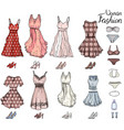 pack with woman dressesshoes and bra objects on vector image