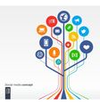 Abstract social media background with icons vector image