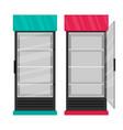 Supermarket refrigerator set flat vector image