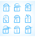 windows set emblem symbol element icons vector image vector image