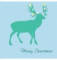 Christmas card with reindeer in Santa hat vector image