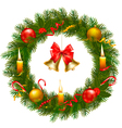 christmas wreath with christmas tree and bell vector image vector image