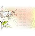 template for calendar 2013 with flowers vector image