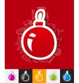 christmas ball paper sticker with hand drawn vector image