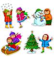 kids in winter vector image