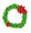 realistic pine arch with poinsettia christmas vector image