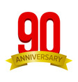 big red number 90 with text anniversary below vector image