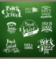 back to school calligraphic designs set vector image