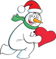 Cartoon running snowman holding a heart vector image
