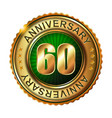 60 years anniversary golden label vector image