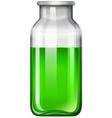 Green liquid in glass bottle vector image