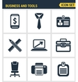 Icons set premium quality of basic business vector image