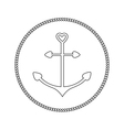Anchor in shapes of heart Round rope frame label vector image