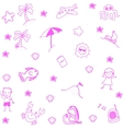 Icon set summer beach doodle art vector image