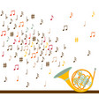 musical concept french horn with notes flat vector image
