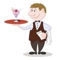 Waiter Deliver Ice Cream vector image