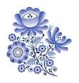 folk flowers russian retro art floral gzhel vector image