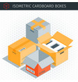 isometric cardboard boxes vector image vector image
