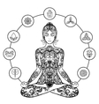 Decorative lotus yoga woman black icon vector image