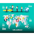 World Map with Businessmen Infographic Template vector image
