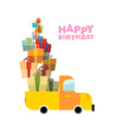 Car and pile of presents Happy birthday to you Lot vector image