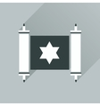 Flat icon with long shadow Torah scroll vector image