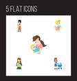 flat icon mother set of perambulator baby parent vector image
