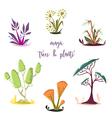 magic trees and plants set cartoon elements vector image