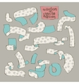 Textile Ribbons Set in Sketch Style Gray vector image