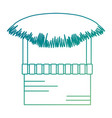 wooden kiosk and palm leaves vector image