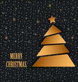 Christmas card with gold tree and falling snow vector image