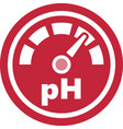 Increase of the ph red round icon vector image