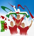 welsh crowd vector image vector image