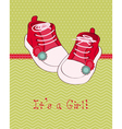 greeting baby card with shoes vector image vector image