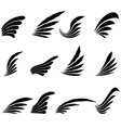 Set of Wings Icons Isolated on White Background vector image