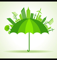 Eco city concept with umbrella stock vector image