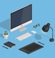Designers Isometric Workspace vector image