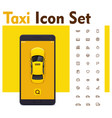 taxi mobile app icon set vector image vector image