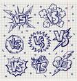 pen drawn versus confrontation labels vector image