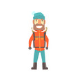 Climber man standing with backpack colorful vector image