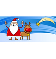 Santa Claus with reindeer greeting card vector image