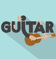Guitar Typography With Microphones Design vector image
